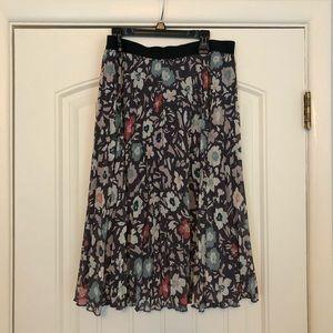 Loft floral pleated midi skirt with elastic waist